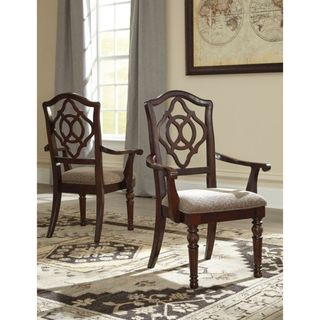 Signature Design by Ashley Leahlyn ReddishBrown Dining Upholstered Arm Chair (Set of 2)