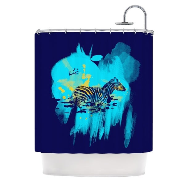 KESS InHouse Frederic Levy-Hadida 'Watercolored Blue' Shower Curtain (69x70)