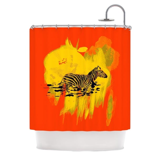 KESS InHouse Frederic Levy-Hadida 'Watercolored Red' Shower Curtain (69x70)