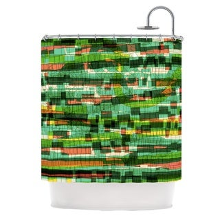KESS InHouse Frederic Levy-Hadida 'Squares Traffic Green' Shower Curtain (69x70)