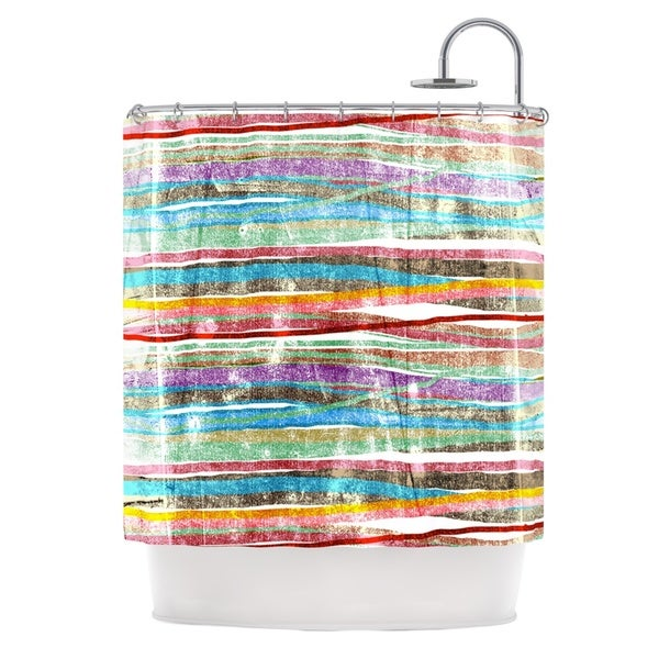 KESS InHouse Frederic Levy-Hadida 'Fancy Stripes Light' Shower Curtain (69x70)