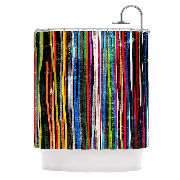 KESS InHouse Frederic Levy-Hadida 'Fancy Stripes Dark' Shower Curtain (69x70)