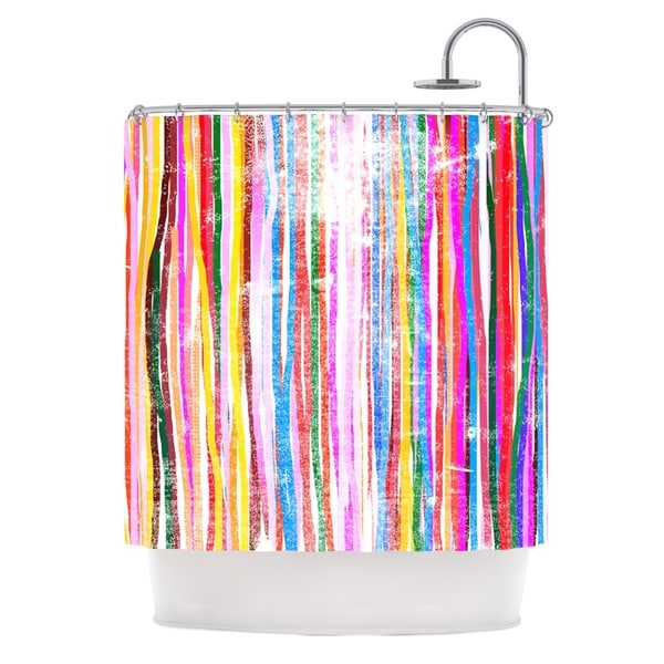 KESS InHouse Frederic Levy-Hadida 'Fancy Stripes Pastel' Shower Curtain (69x70)