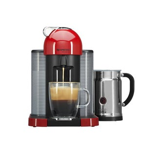 Nespresso A+GCA1-US-RE-NE VertuoLine Coffee and Espresso Maker + Aeroccino Plus Milk Frother, Red