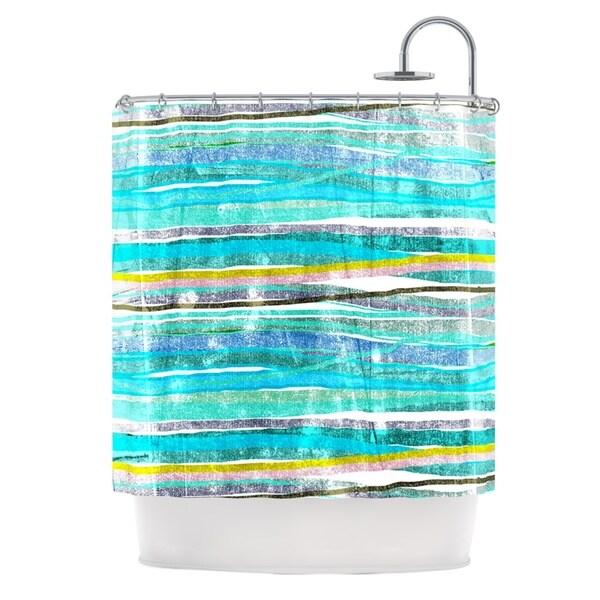 KESS InHouse Frederic Levy-Hadida 'Fancy Stripes Acqua' Shower Curtain (69x70)