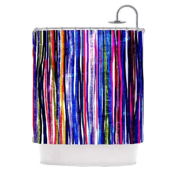 KESS InHouse Frederic Levy-Hadida 'Fancy Stripes Purple' Shower Curtain (69x70)