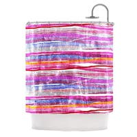 KESS InHouse Frederic Levy-Hadida 'Fancy Stripes Pink' Shower Curtain (69x70)