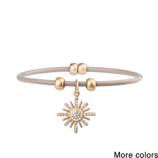 Saachi Pave Sun Charm Leather Bracelet (China)