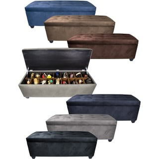 MJL Furniture The Sole Secret Obsession Espresso Wood/Metal/Foam 10-button Tufted Shoe Storage Bench