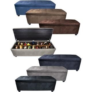 Sole Secret Obsession Espresso 10-Button Tufted Shoe Storage Bench