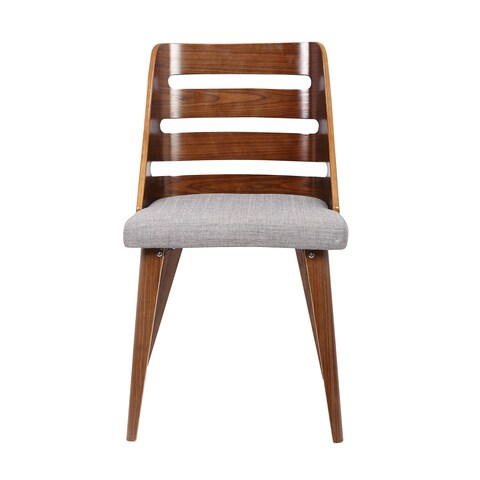 Walnut Plywood and Grey Fabric Dining Chair with Solid Wood Legs
