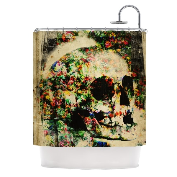 KESS InHouse Frederic Levy-Hadida 'Floral Skully' Shower Curtain (69x70)