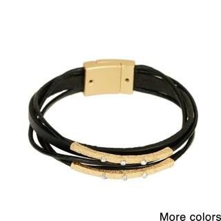Handmade Saachi Embellished Bar Multi Strand Leather Bracelet (China)