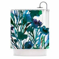 KESS InHouse Ebi Emporium 'Petal For Your Thoughts Teal' Shower Curtain (69x70)