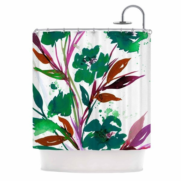 KESS InHouse Ebi Emporium 'Pocket Full Of Posies Teal' Shower Curtain (69x70)