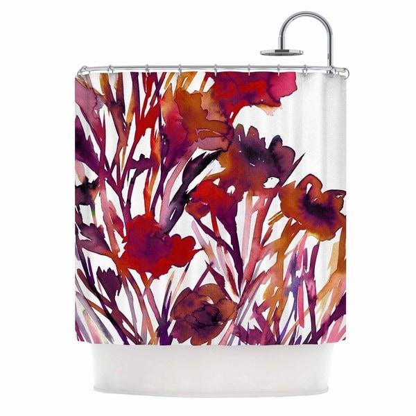 KESS InHouse Ebi Emporium 'Pocket Full Of Posies Red' Shower Curtain (69x70)