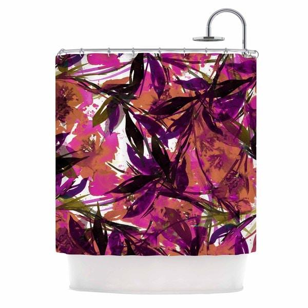 KESS InHouse Ebi Emporium 'Floral Fiesta Pink Plum' Shower Curtain (69x70)