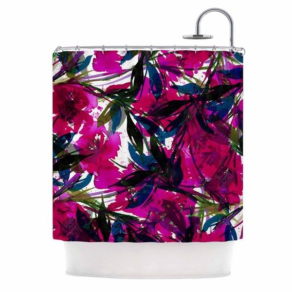 KESS InHouse Ebi Emporium 'Floral Fiesta Magenta Blue' Shower Curtain (69x70)
