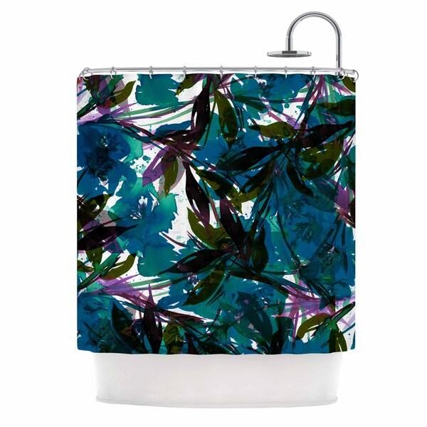 KESS InHouse Ebi Emporium 'Floral Fiesta Teal' Shower Curtain (69x70)