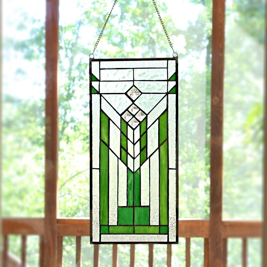 River Of Goods Mission Green and Clear Stained Glass 19.5...