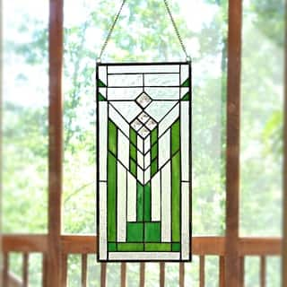 Mission Green And Clear Stained Gl 19 5 Inch Window Panel