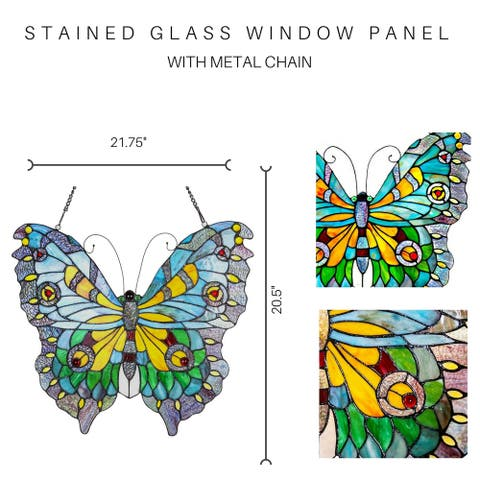 "20.5""H Stained Glass Swallowtail Butterfly Window Panel - 21.75""L x 0.25""W x 20.5""H"