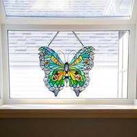 """20.5""""H Stained Glass Swallowtail Butterfly Window Panel - 21.75""""L x 0.25""""W x 20.5""""H"""