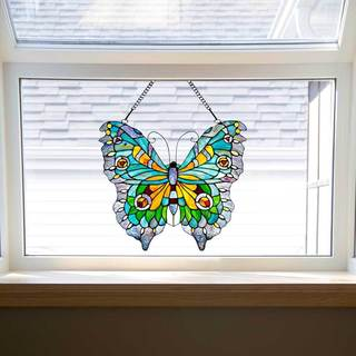 Stained Glass 20.5-inch Swallowtail Butterfly Window Panel