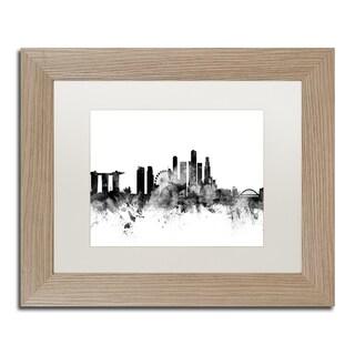Michael Tompsett 'Singapore Skyline B&W' Matted Framed Art