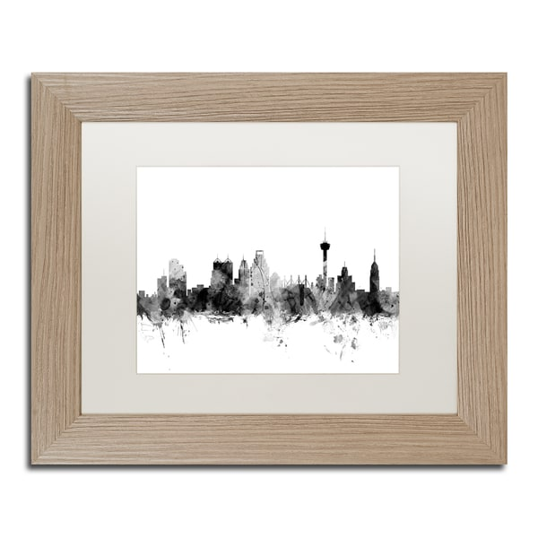 Michael Tompsett 'San Antonio Texas Skyline B&W' Matted Framed Art