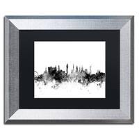 Michael Tompsett 'Glasgow Scotland Skyline B&W' Matted Framed Art