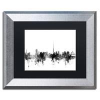 Michael Tompsett 'Dublin Ireland Skyline B&W' Matted Framed Art