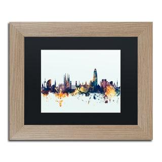 Michael Tompsett 'Barcelona Spain Skyline Blue' Matted Framed Art