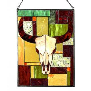 Tiffany-style Jade Rustic Cattle 34-inch Stained Glass Window Panel