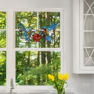 Stained Glass 12-inch Hummingbird Floral Window Panel https://ak1.ostkcdn.com/images/products/12099688/P18962653.jpg?impolicy=medium