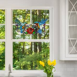 Stained Glass 12-inch Hummingbird Floral Window Panel
