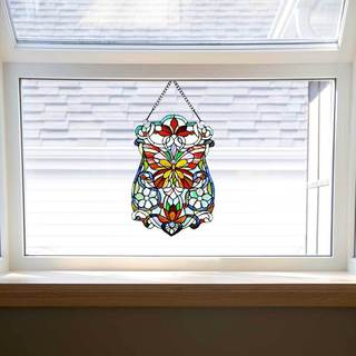 River of Goods Blue, Green, Orange, Pink, Purple, Red, Yellow Glass 19-inch Butterfly Fleurs Stained Glass Window Panel