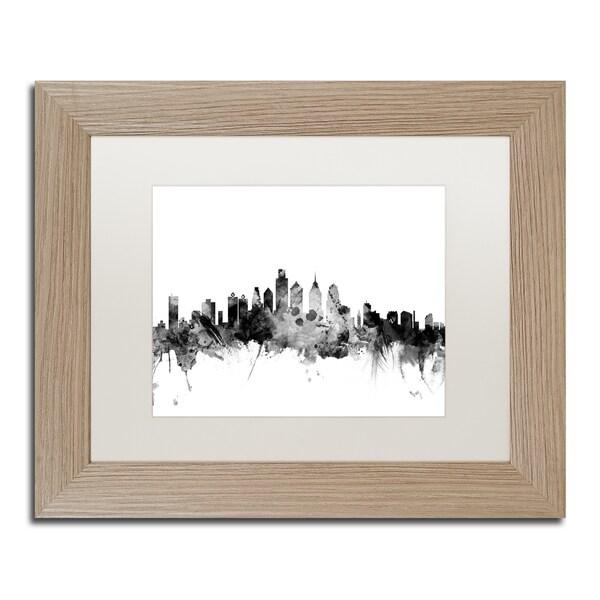 Michael Tompsett 'Philadelphia PA Skyline B&W' Matted Framed Art