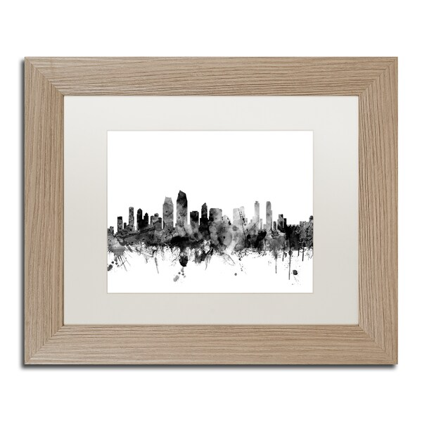 Shop Michael Tompsett \'San Diego CA Skyline B&W\' Matted Framed Art ...
