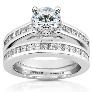 Annello By Kobelli 14k White Gold 1ct Round Moissanite And 1ct TDW Diamond Princess Channel Bridal Set