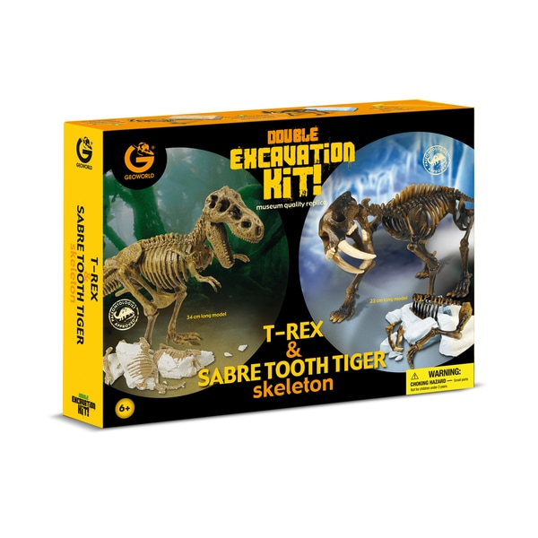 Geoworld Plastic Double Excavation Kit T. Rex and Sabre Tooth Tiger