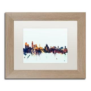 Michael Tompsett 'Liverpool England Skyline Blue' Matted Framed Art