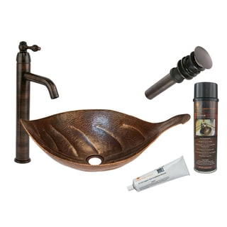Premier Copper Products BSP1_PVLFDB Vessel Sink, Faucet, and Accessories Package