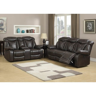Otto 2-Piece Brown Sofa and Loveseat Living Room Set with 4 Recliners, Storage Console and Cup Holders (Set of 2)