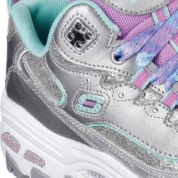 Girls' Skechers D'Lites Wild Bling Sneaker Silver/Aqua