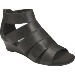 Women's Aerosoles Yet Forth Wedge Sandal Black Leather