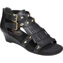 Women's Aerosoles Yetaphor Wedge Sandal Black Leather