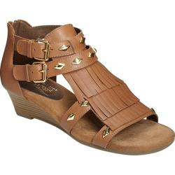Women's Aerosoles Yetaphor Wedge Sandal Dark Tan Leather