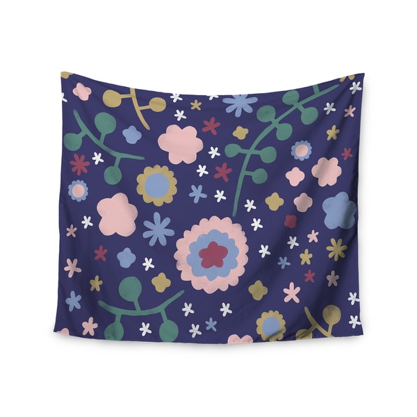 "Kess InHouse Alik Arzoumanian ""Night Floral"" Blue Nature Wall Tapestry 51'' x 60''"