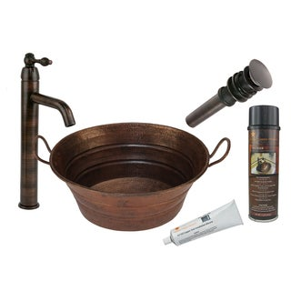 Premier Copper Products BSP1_VOB16DB Vessel Sink with Faucet and Accessories Package